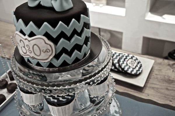30 Birthday Teal Chevron Sweet Table 10