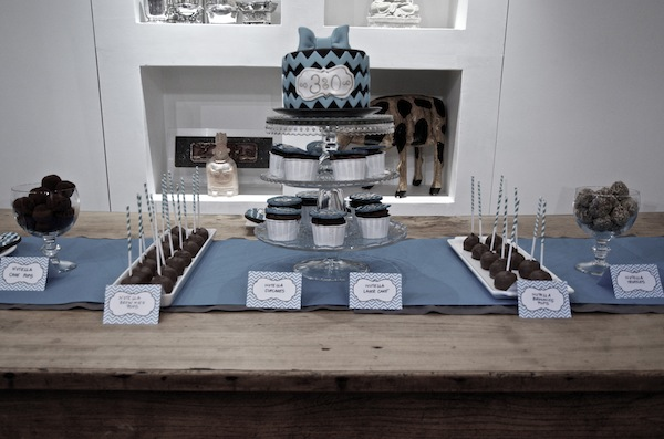 30 Birthday Teal Chevron Sweet Table 11