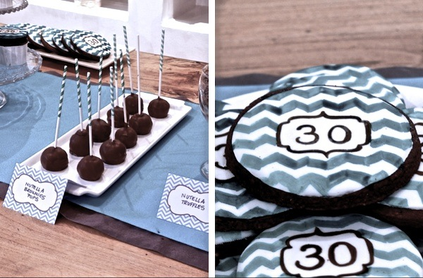 30 birthday Teal Chevron Sweet Table 2