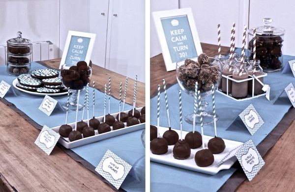30 birthday Teal Chevron Sweet Table 3