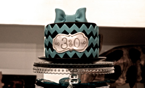 30 Birthday Teal Chevron Sweet Table 4