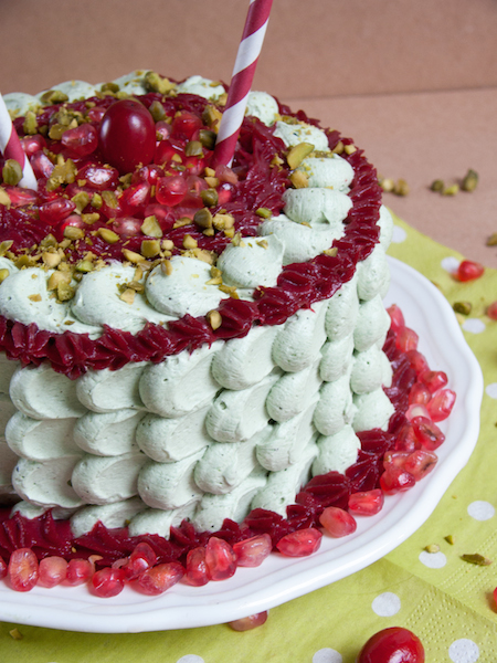 Pistachio Pomegranate Cranberry Layer Cake 2