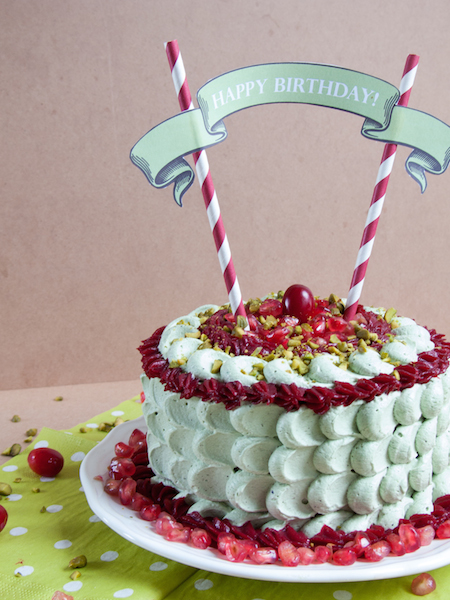 Pistachio Pomegranate Cranberry Layer Cake 4