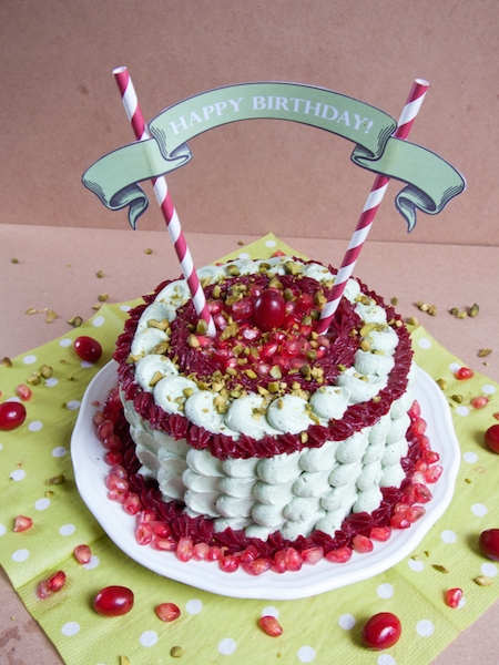 Pistachio Pomegranate Cranberry Layer Cake 6