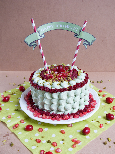 Pistachio Pomegranate Cranberry Layer Cake 9