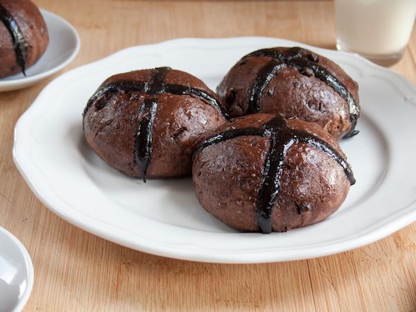 Chocolate Hot Cross Buns 2